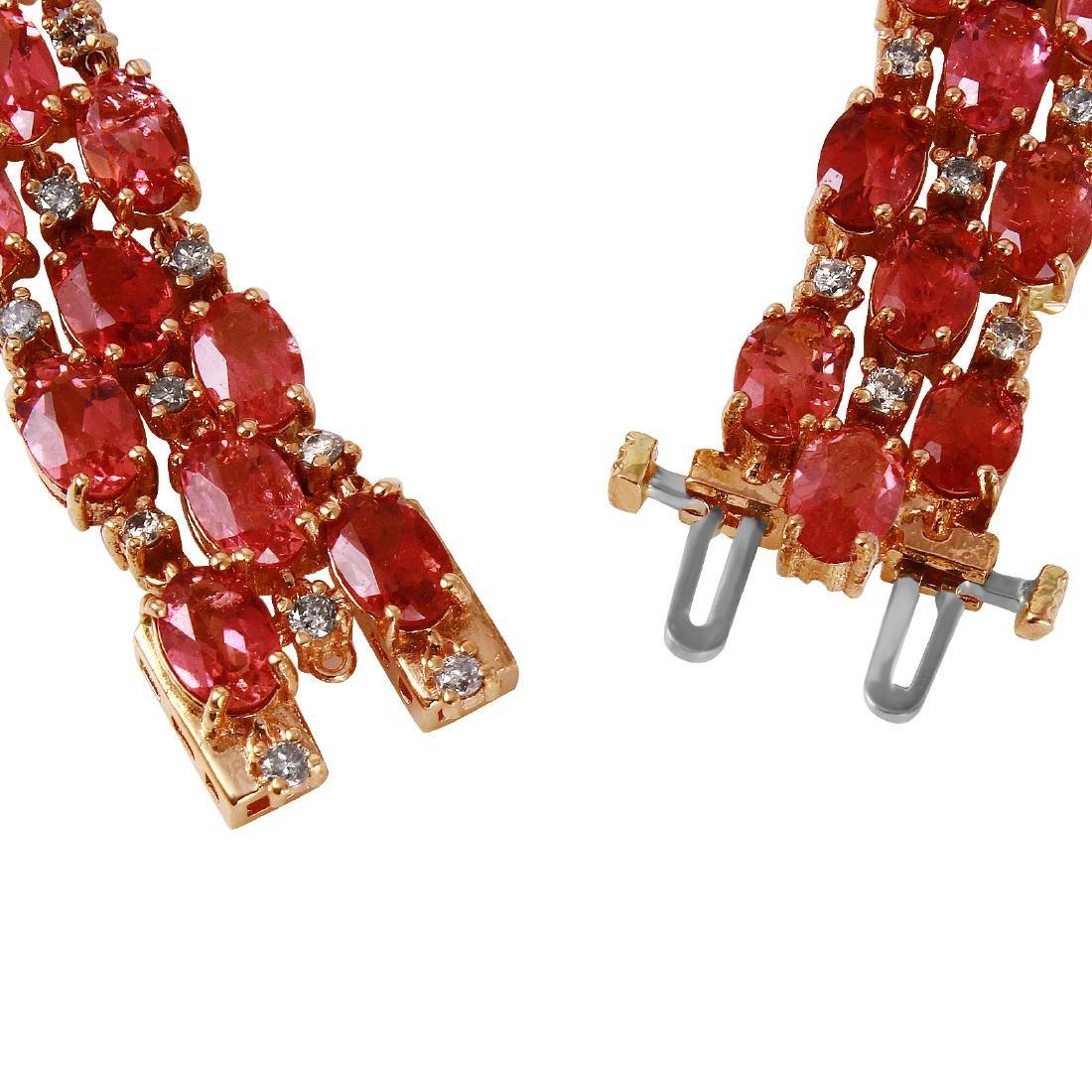 14KT Rose Gold Tourmaline & Diamond Bracelet - 3