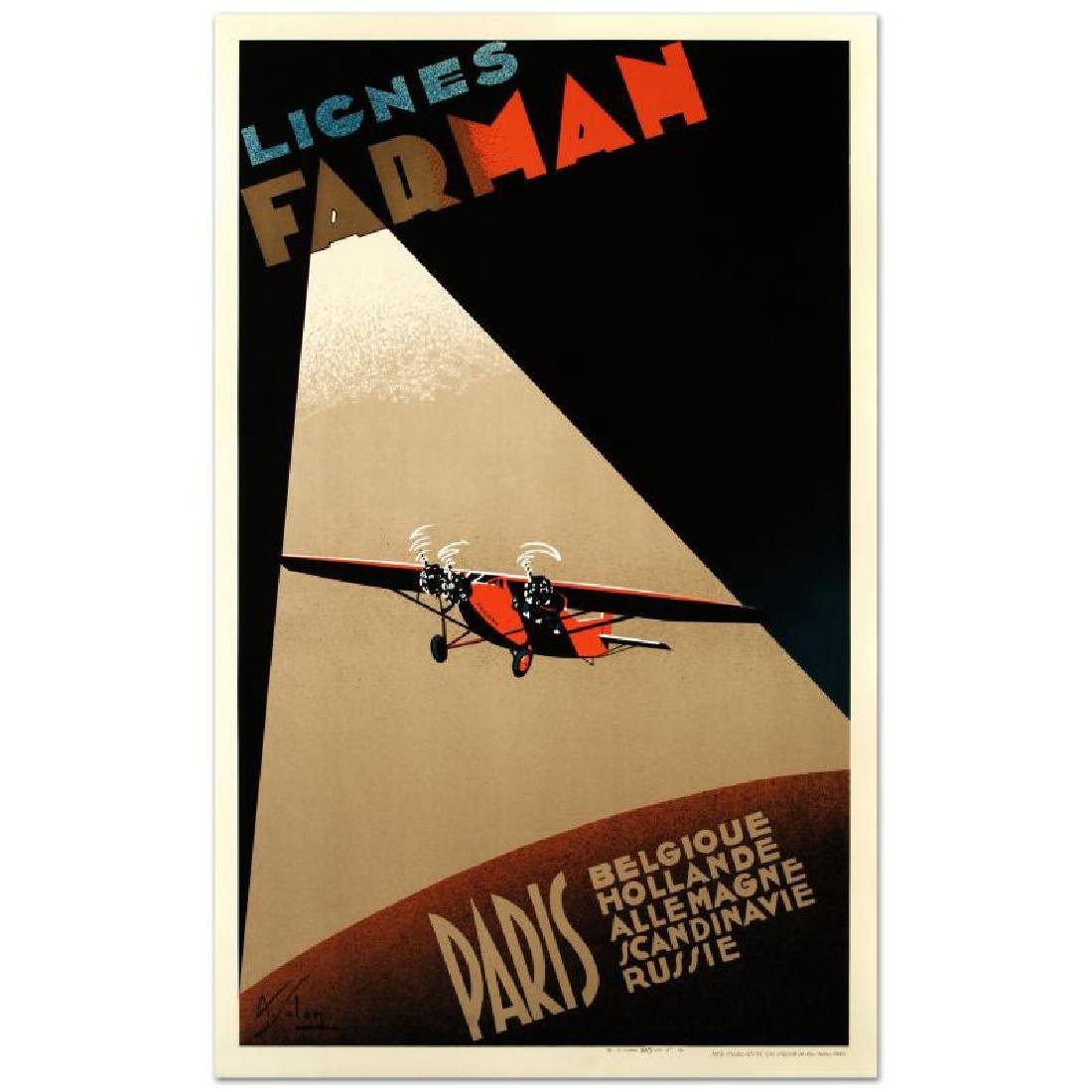 """""""Farman Airlines"""" Hand Pulled Lithograph (22"""" x 37"""") by"""