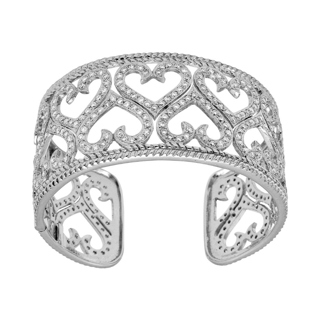 18KT White Diamond Heart Cuff Bracelet