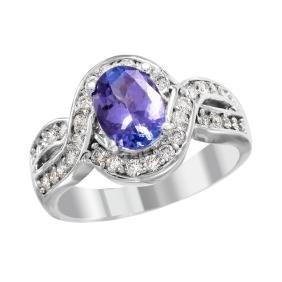 18KT White Gold Tanzanite and Diamond Ring