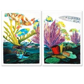 """Coral Reef Life"" Limited Edition Giclee Diptych on"