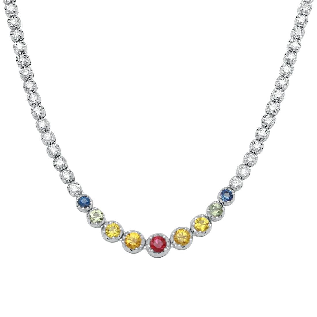 18KT White Gold Gemstone Necklace - 2