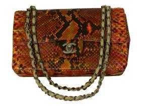 CHANEL Multi-Color Python Double Flap Bag