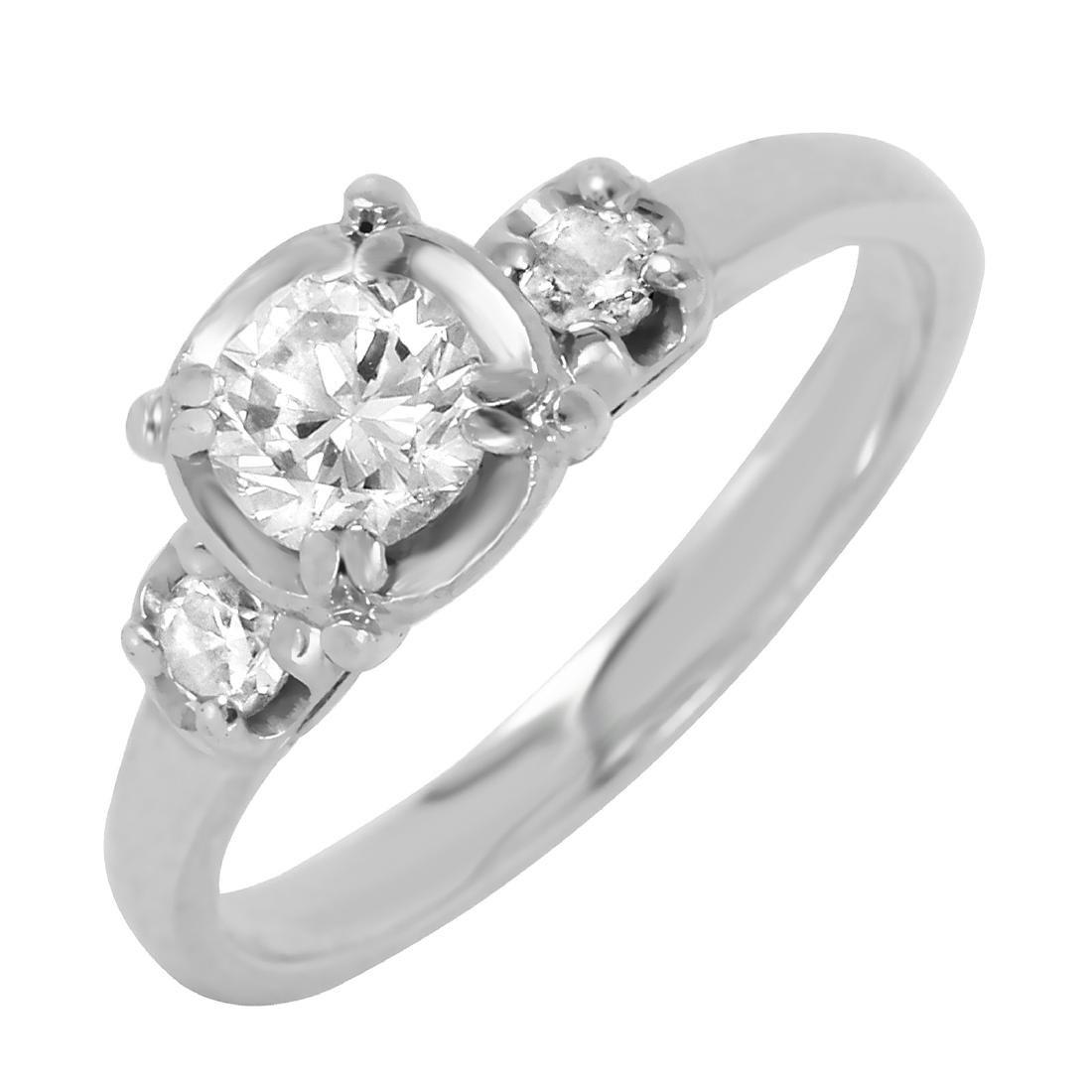 14KT Whit e Gold Diamond Engagement Ring