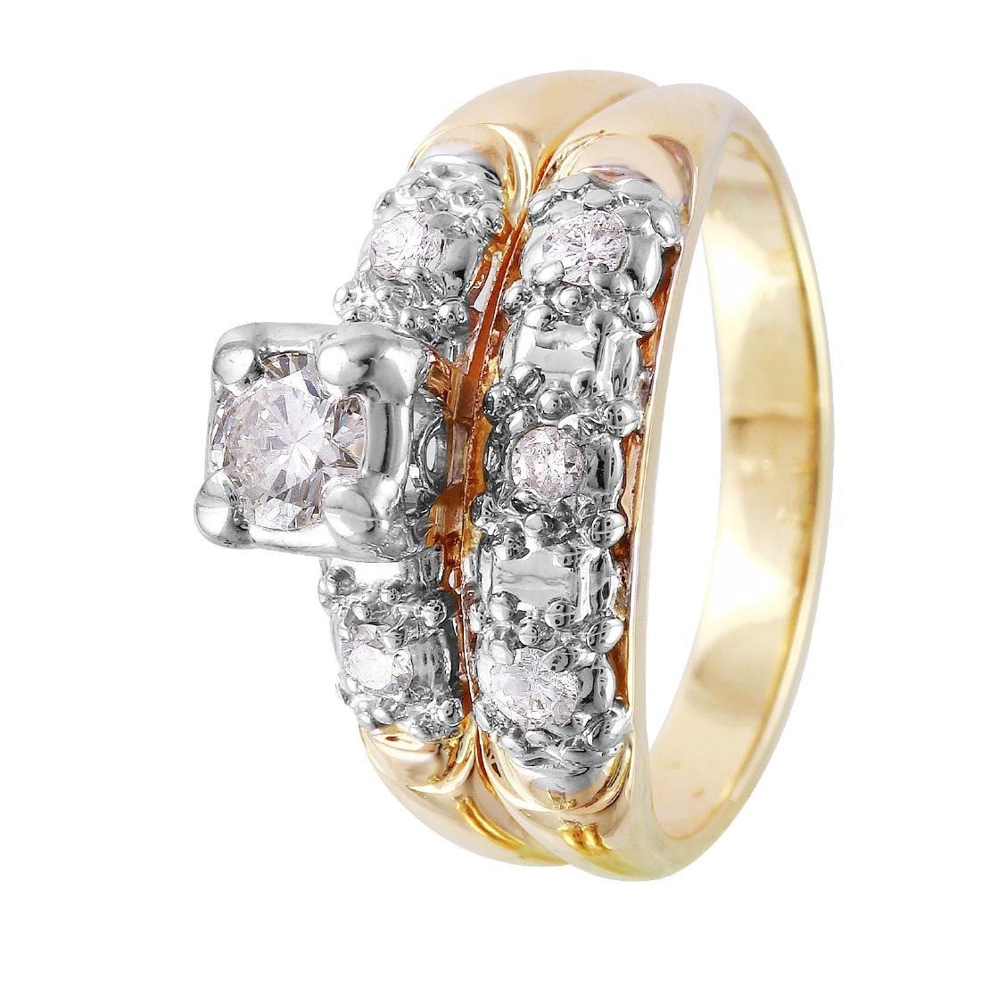 14KT Yellow Gold Diamond Wedding Set