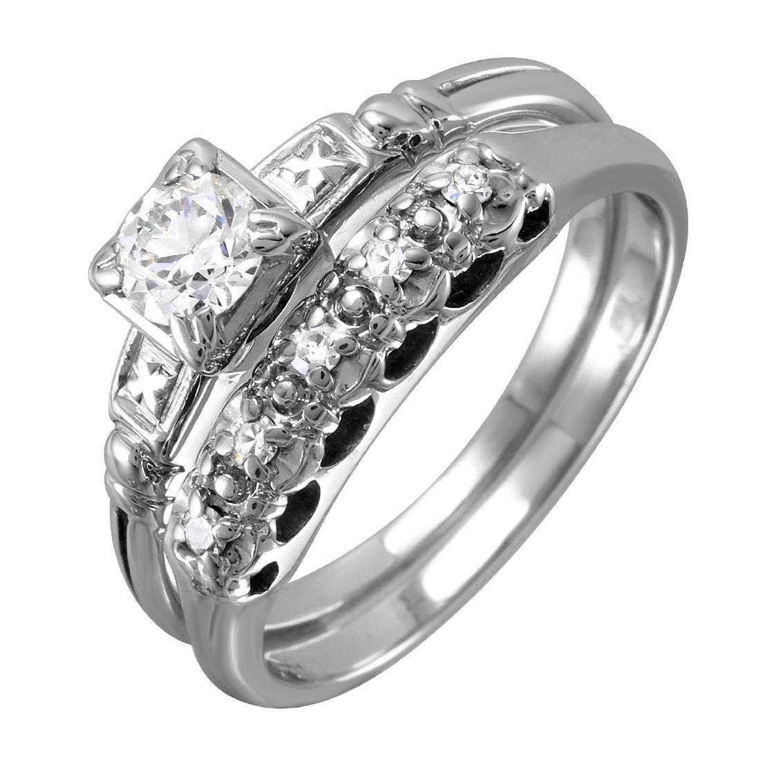 14KT White Gold Diamond Wedding Set