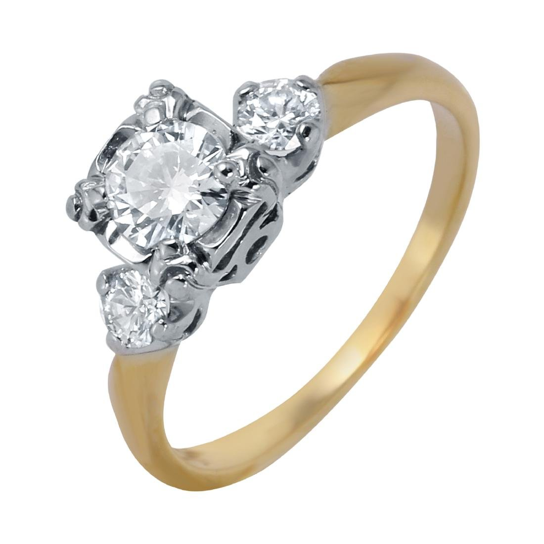 14KT Two Tone Diamond Vintage Engagement Ring