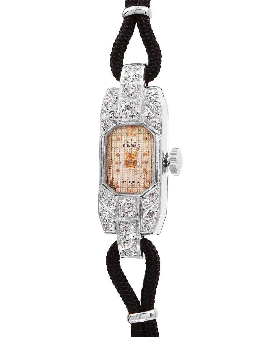 Dunamis Platinum Diamond Silk Cord Watch
