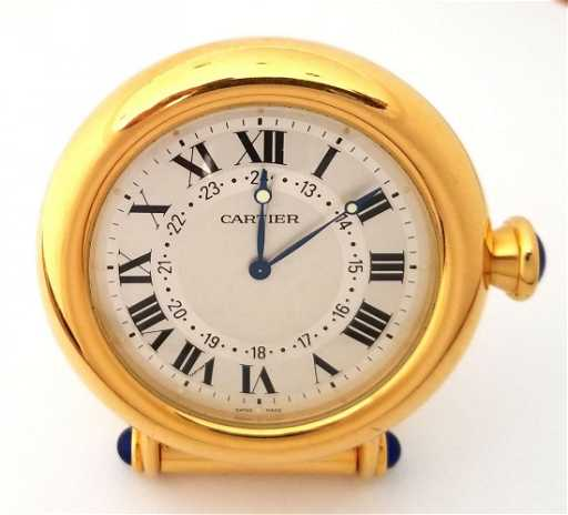 Vintage Cartier Desk Travel Alarm Gold Plated Clock
