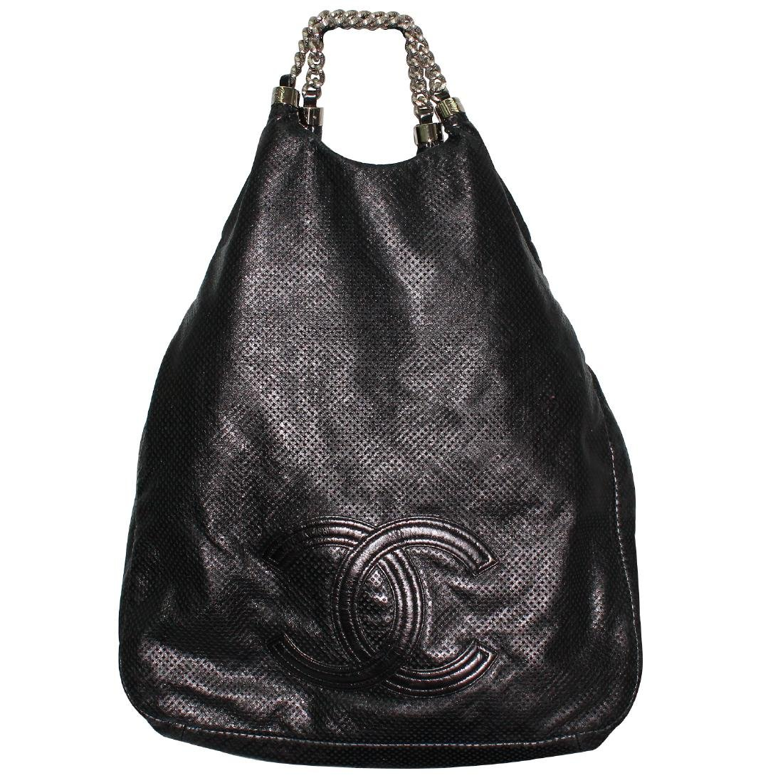 Chanel Rodeo XL Hobo Black Perforated Leather Tote Bag