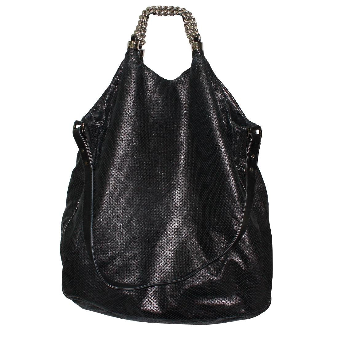 Chanel Rodeo XL Hobo Black Perforated Leather Tote Bag - 2