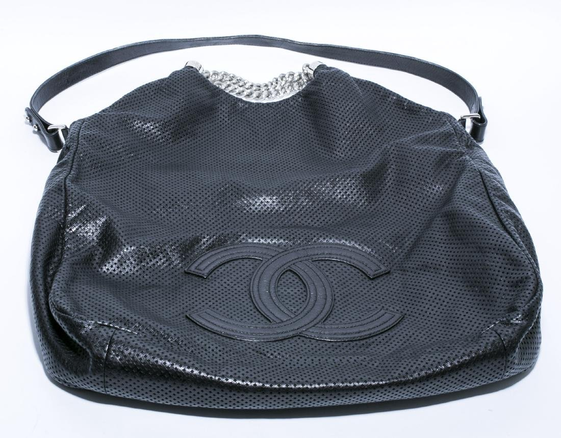 Chanel Rodeo XL Hobo Black Perforated Leather Tote Bag - 5