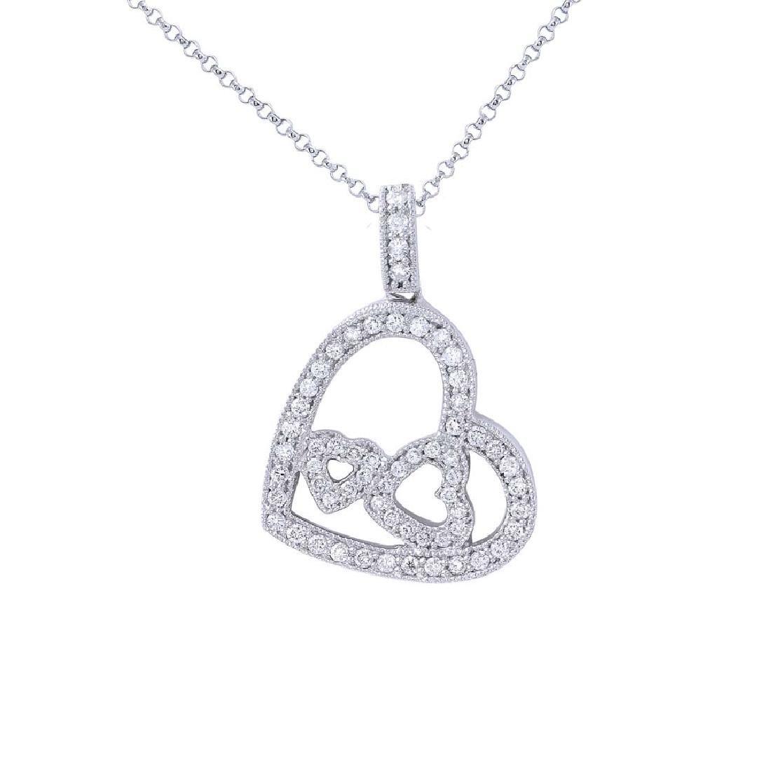 18KT White Gold Ladies Diamond Slider with Chain
