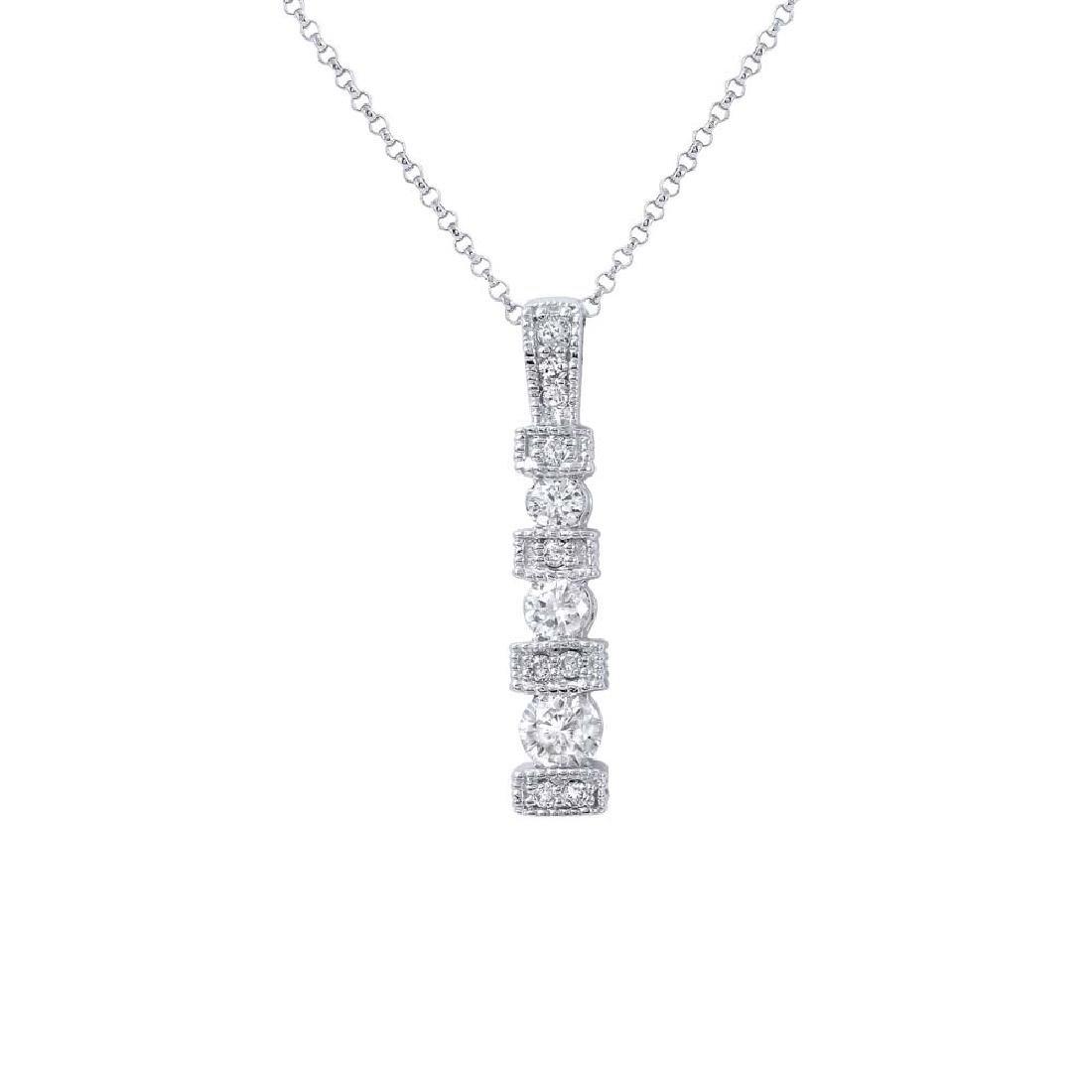 14KT White Gold Ladies Diamond Slider with Chain