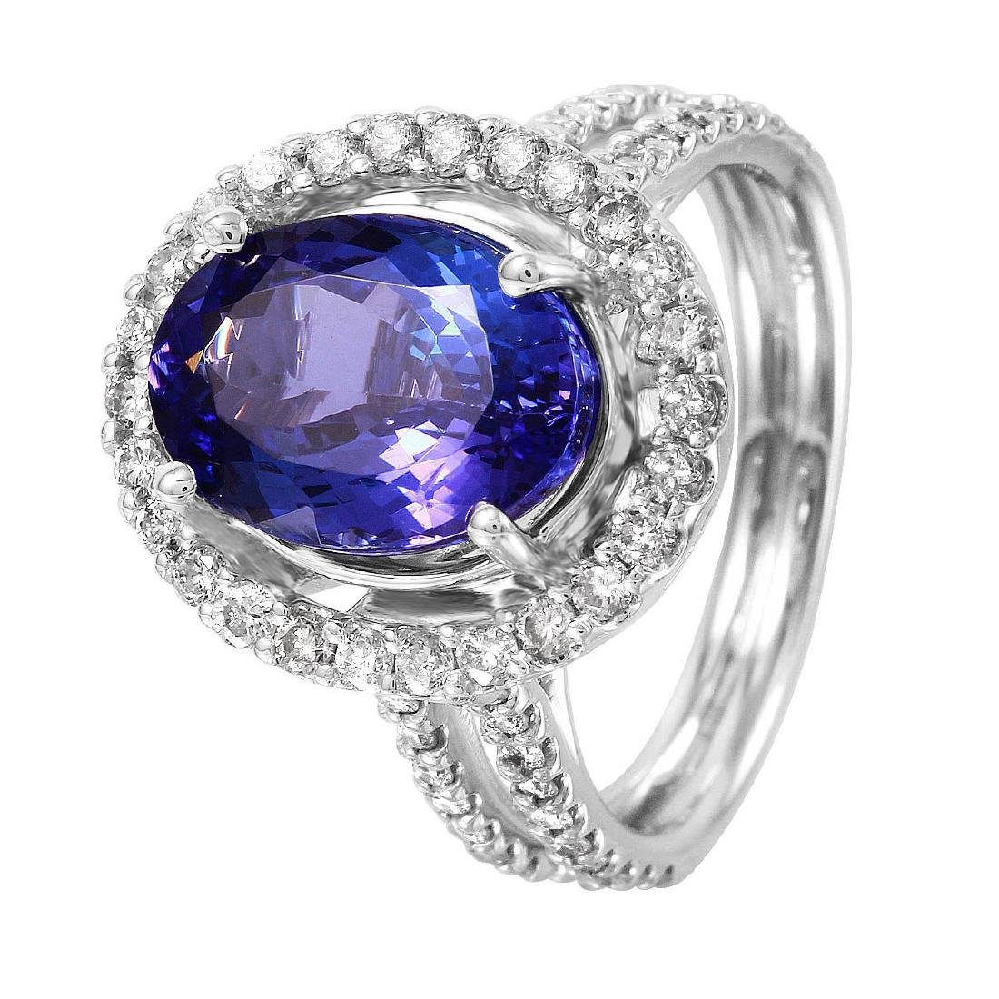 14KT White Gold Tanzanite & Diamond Ring