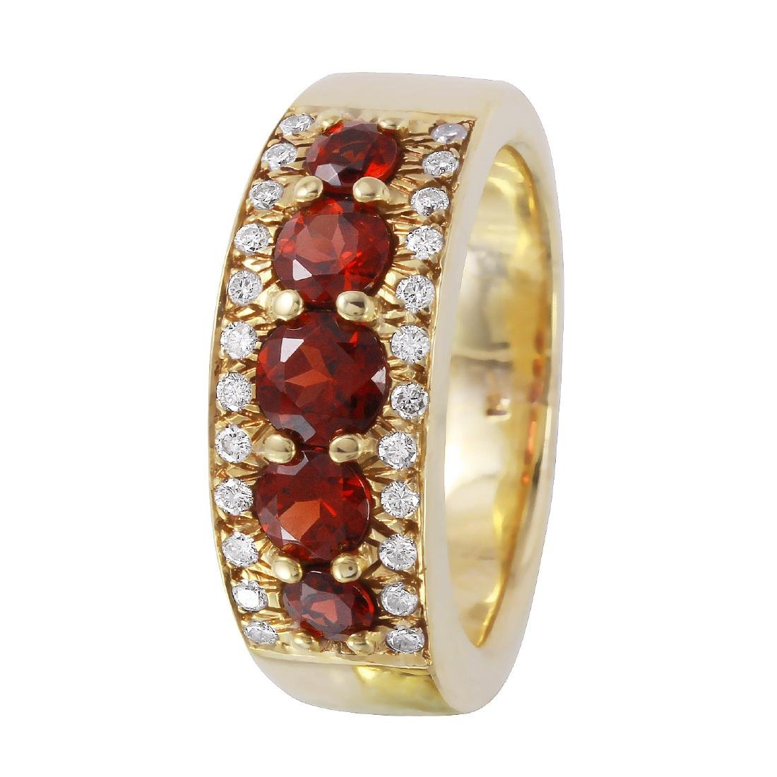 14KT Yellow Gold Garnet & Diamond  Ring