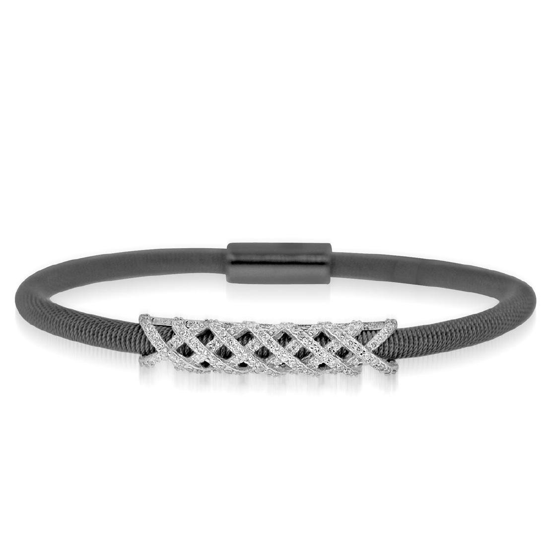 Sterling Silver Black Rhodium Plated and Criss Cross CZ