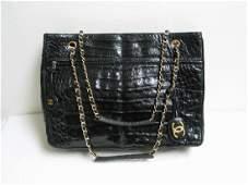 Chanel Crocodile Black Tote Bag Vintage Circa Late