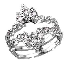 14kt White Gold Diamond Ring Guard