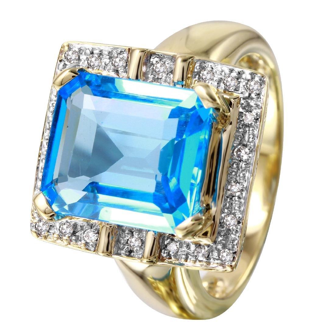 14KT Yellow Gold Topaz & Diamond Ring