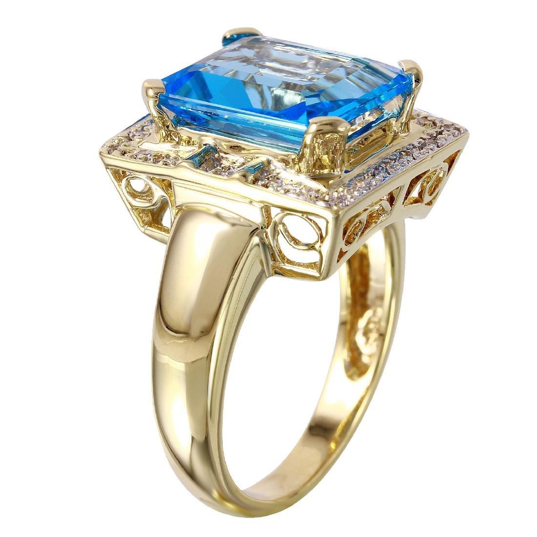 14KT Yellow Gold Topaz & Diamond Ring - 2