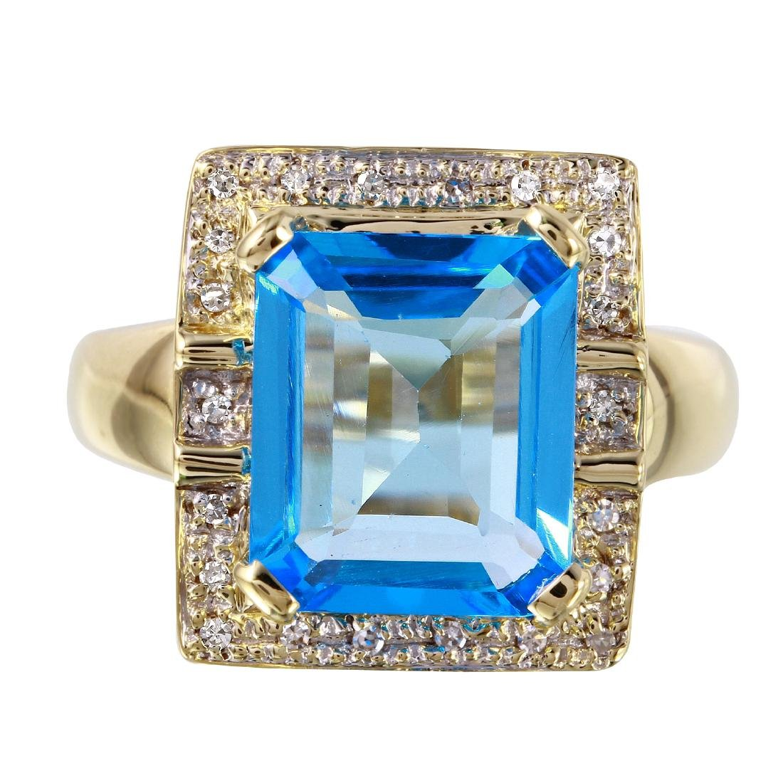 14KT Yellow Gold Topaz & Diamond Ring - 3