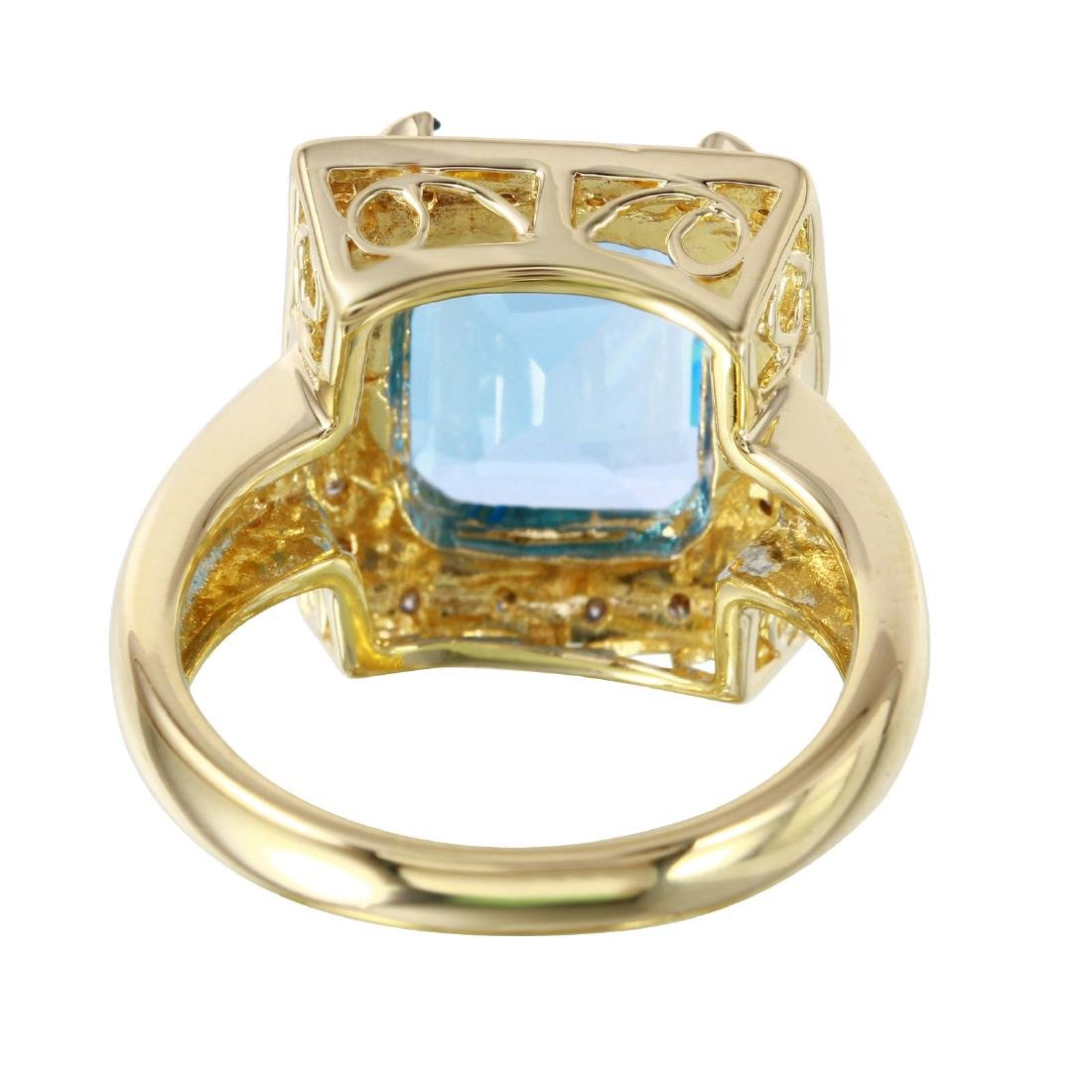 14KT Yellow Gold Topaz & Diamond Ring - 4