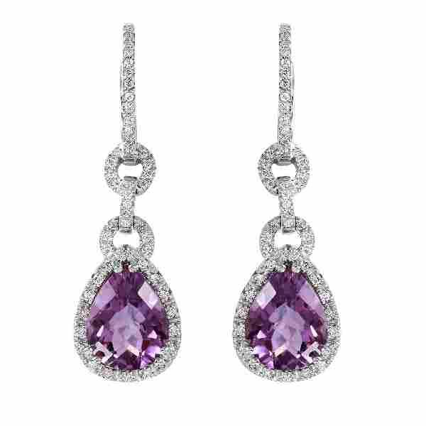 14KT White Gold Amethyst & Diamond Earrings