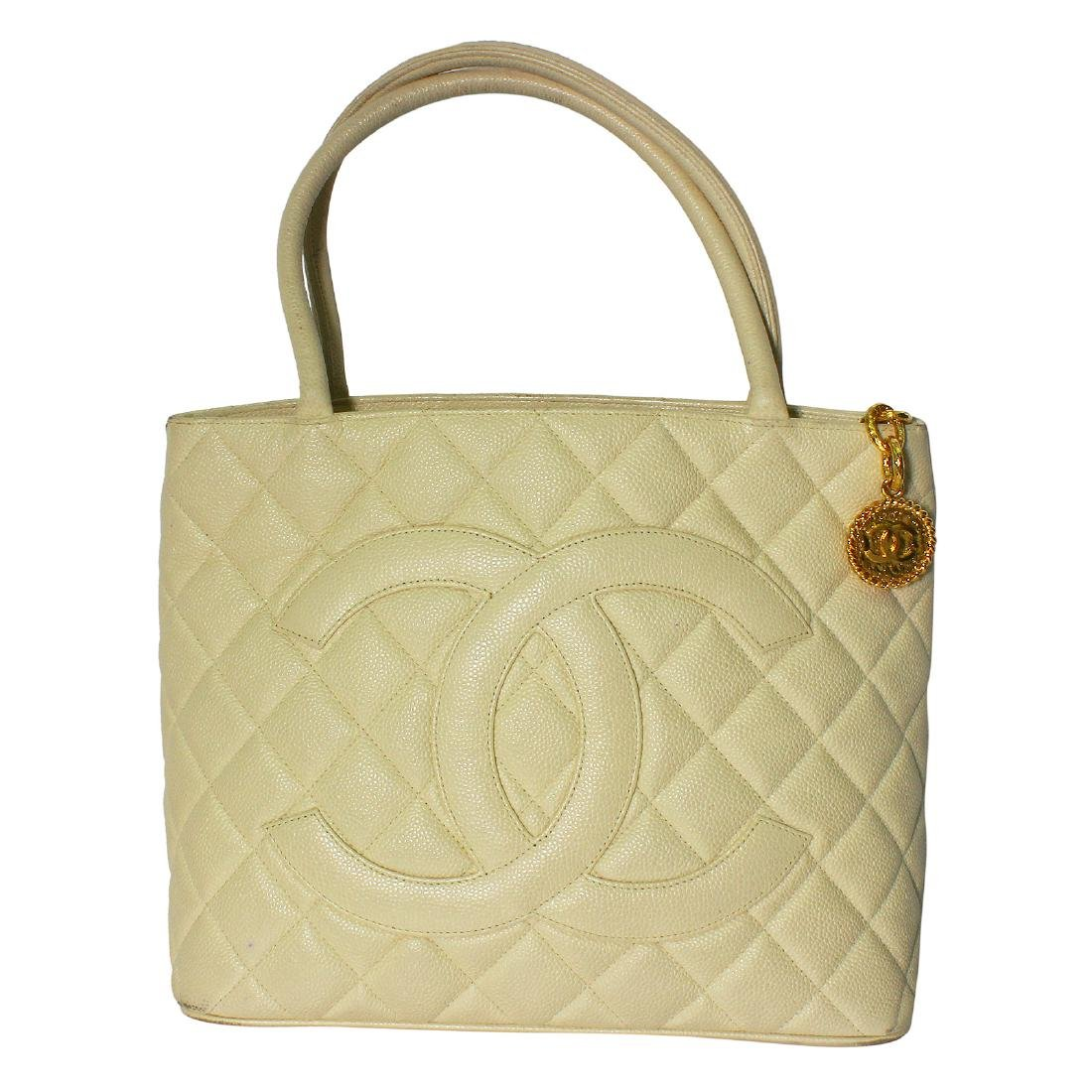 Chanel Quilted Beige Caviar Leather Shoulder Tote Bag