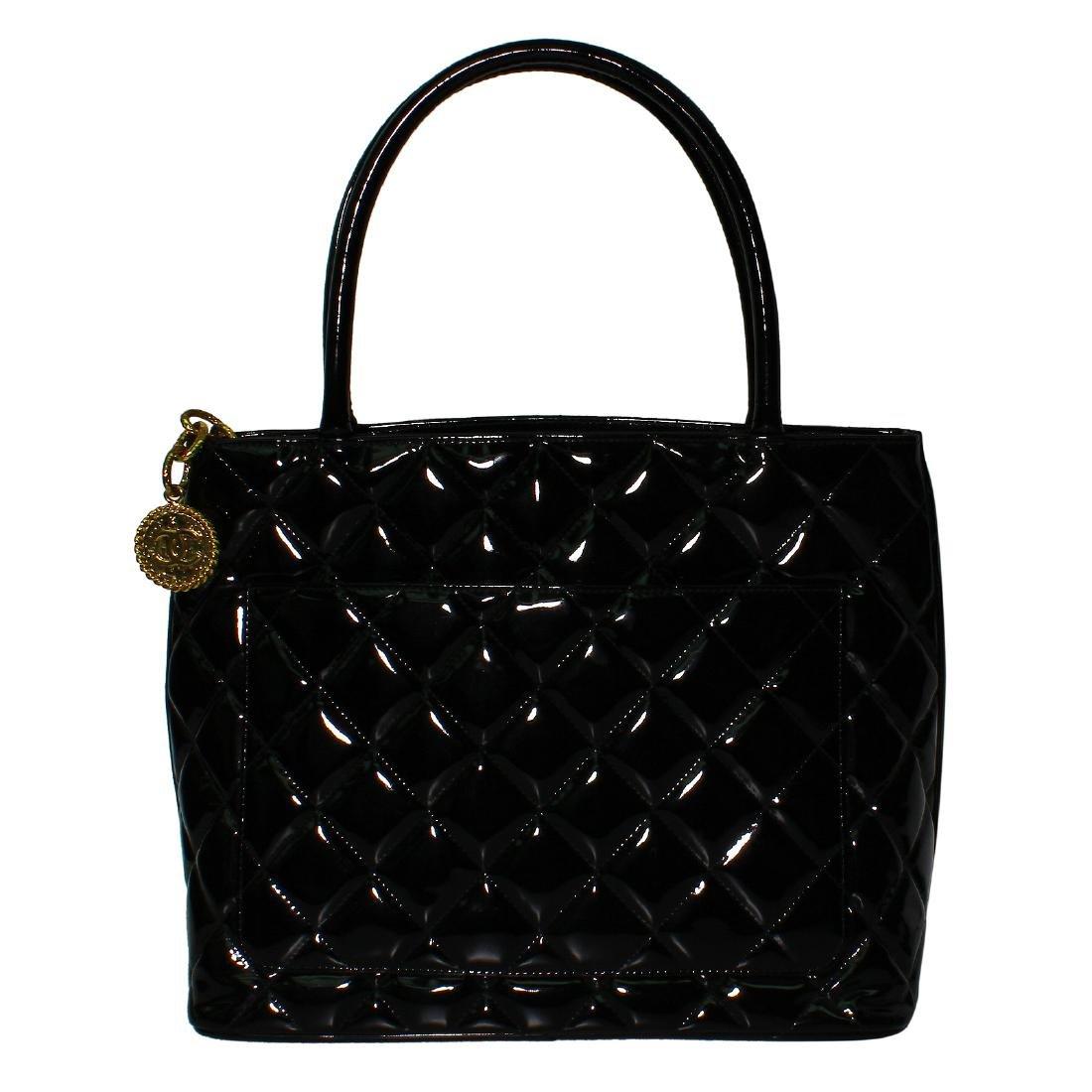 Chanel Quilted Black Patent Leather Shoulder Bag - 2
