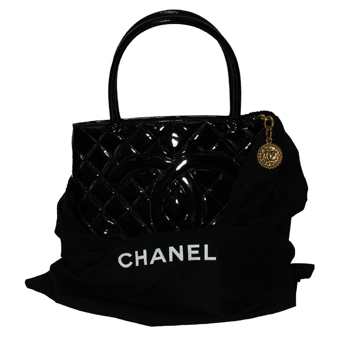 Chanel Quilted Black Patent Leather Shoulder Bag - 4