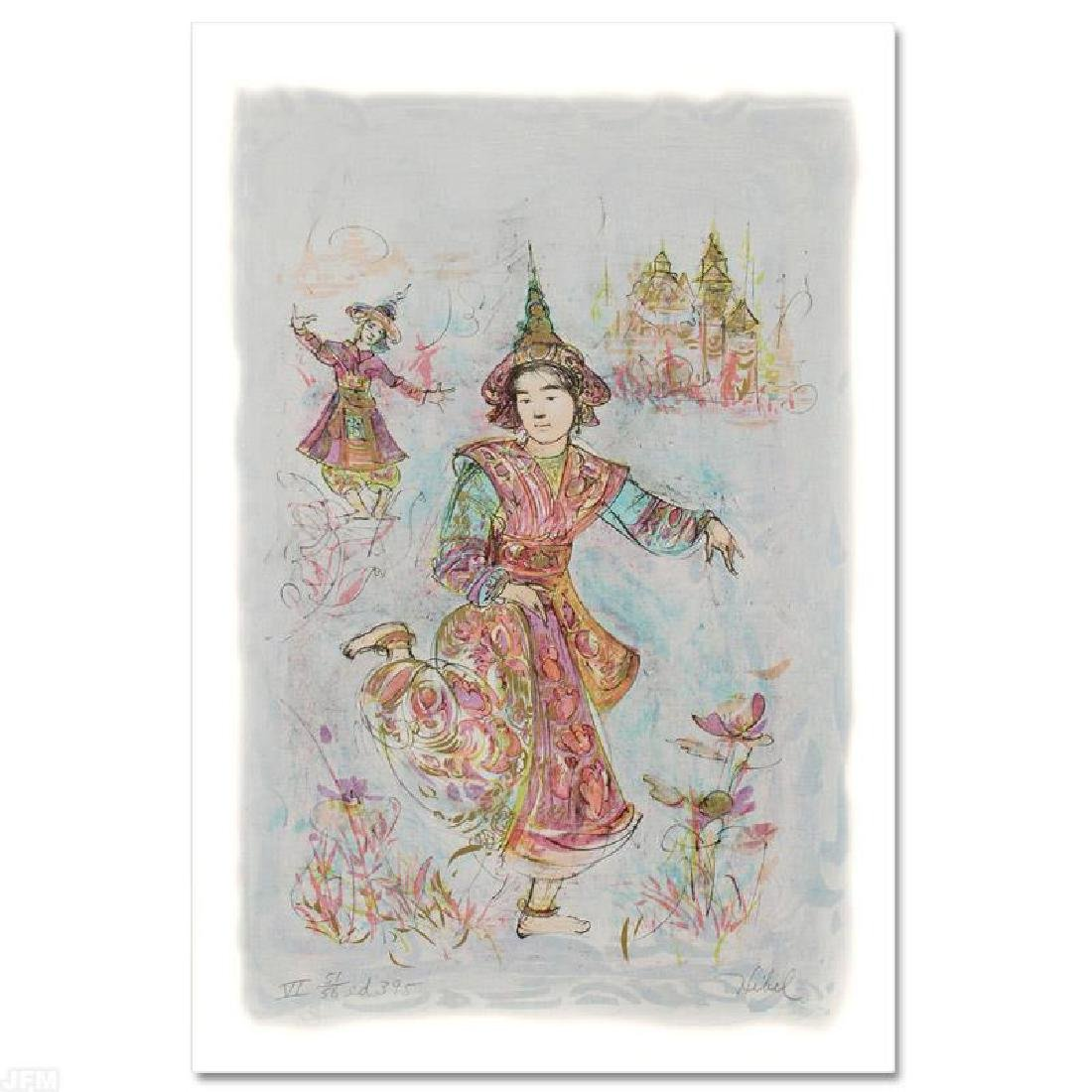 """Thai Dancers"" Limited Edition Lithograph by Edna Hibel"