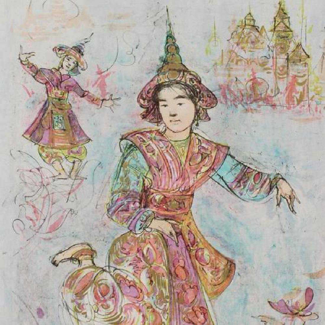 """""""Thai Dancers"""" Limited Edition Lithograph by Edna Hibel - 2"""