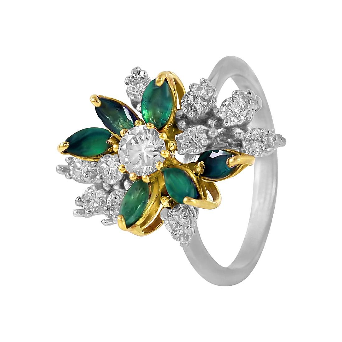 14KT Two Tone Gold Emerald and Diamond Ring