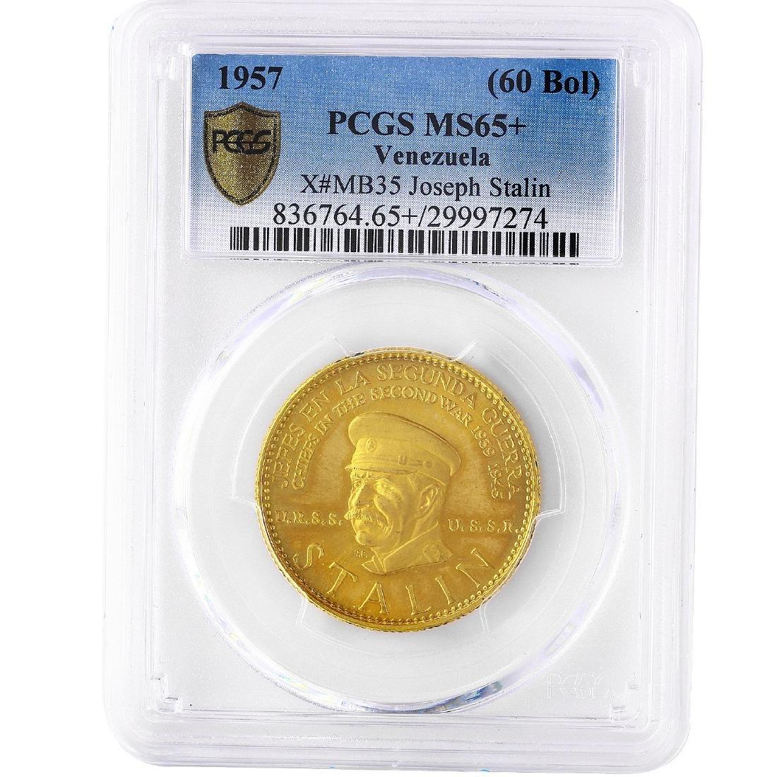 Venezuela 1957 Gold 60 Bolivares Stalin Coin