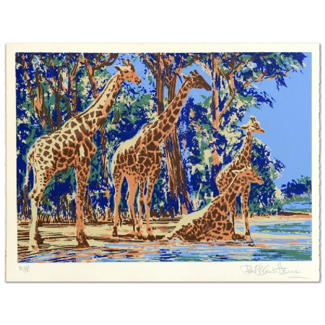 Giraffe Lake Limited Edition Serigraph by Paul Blaine