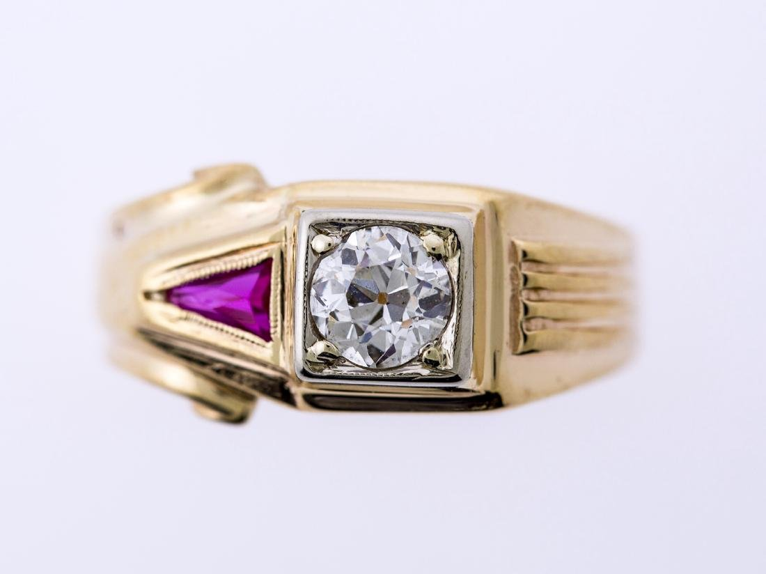 14KT Yellow Gold Diamond & Ruby Ring