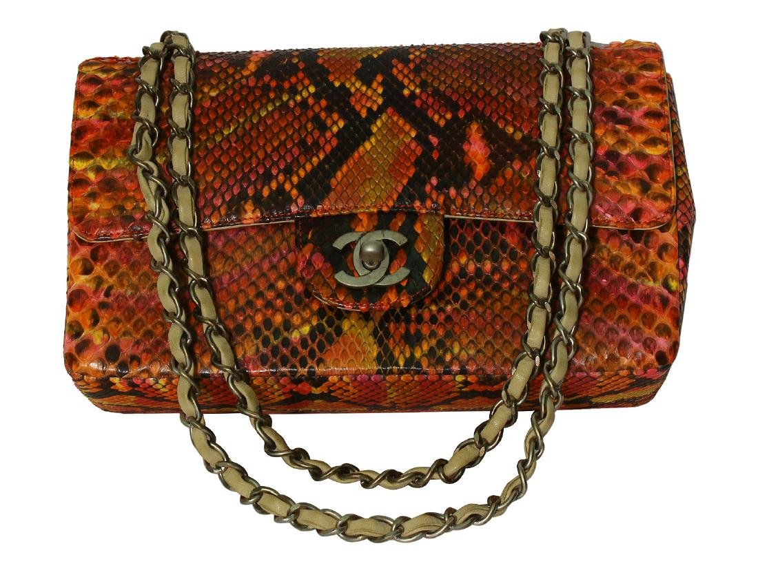 CHANEL Multi-Color Python Double Flap Bag