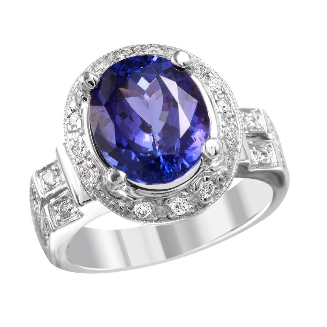 18KT White Gold Tanzanite & Diamond Ring