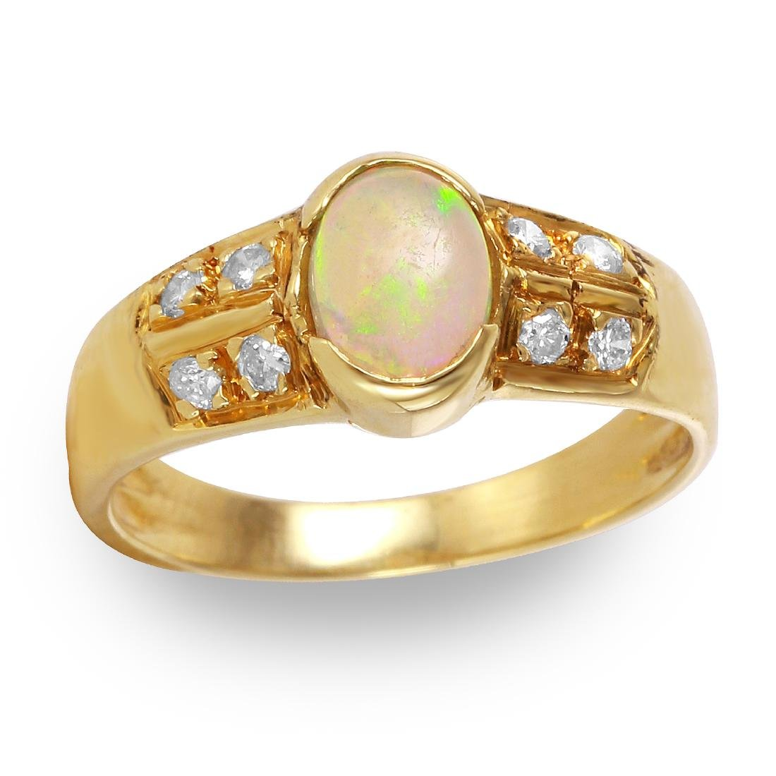 Opal and Diamond Yellow Gold Ring