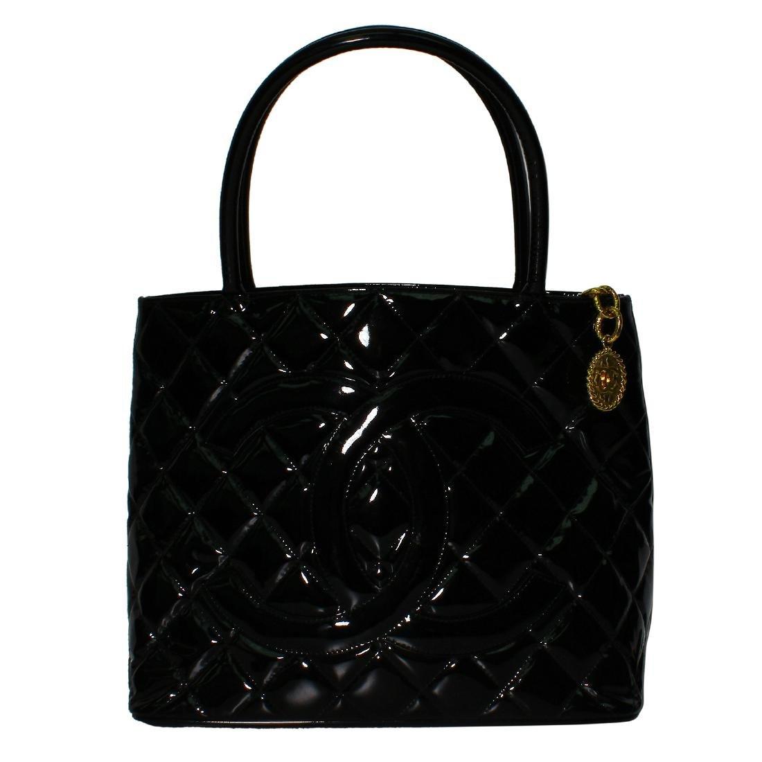 Chanel Quilted Black Patent Leather Shoulder Bag