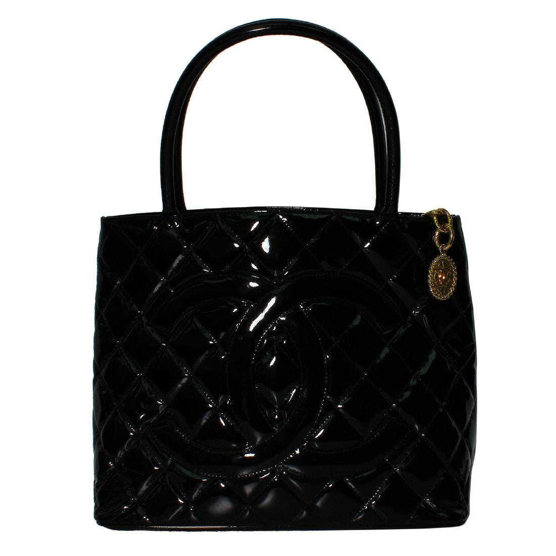 Chanel Quilted Black Patent Leather Shoulder Bag