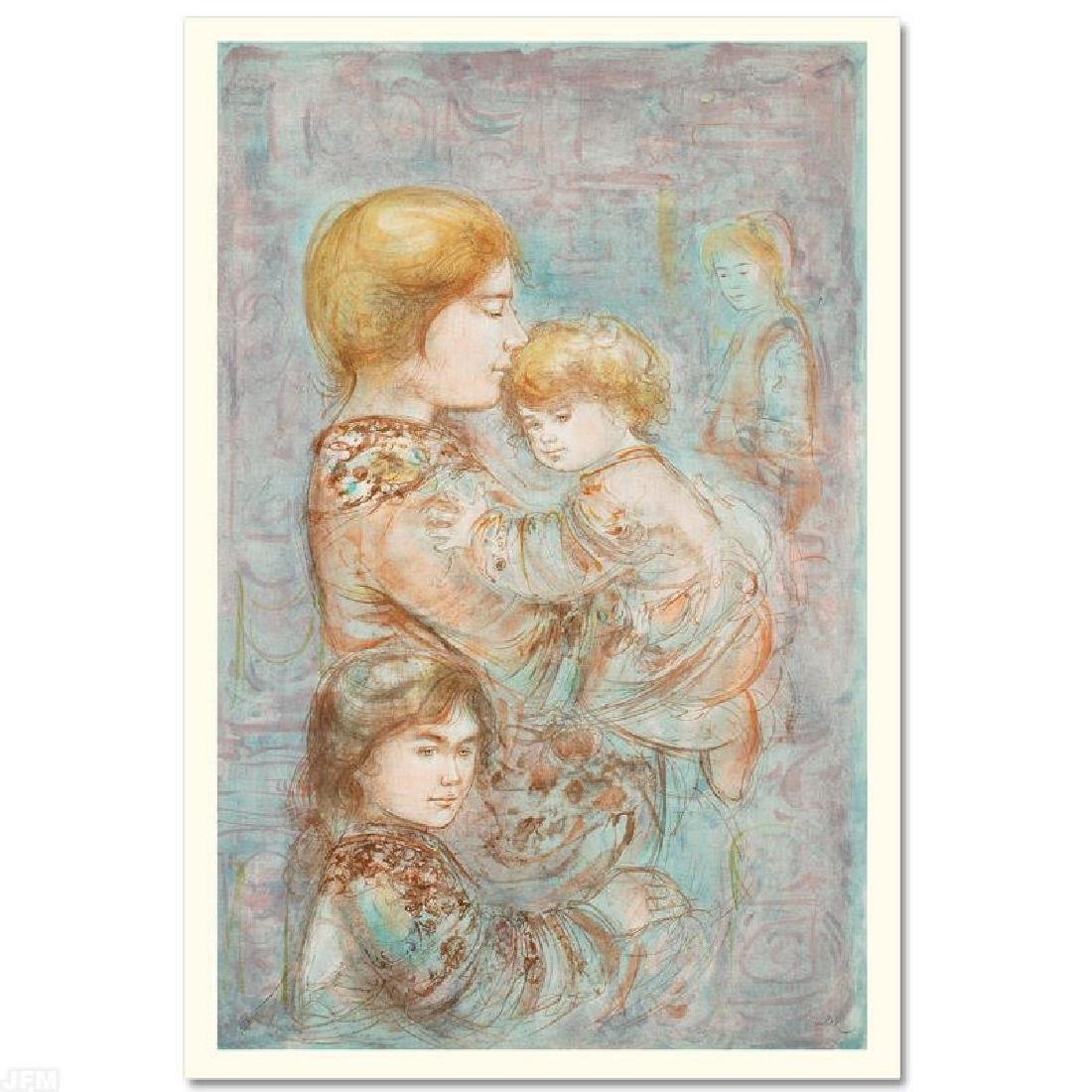 """Woman with Children"" Limited Edition Lithograph (29.5"""
