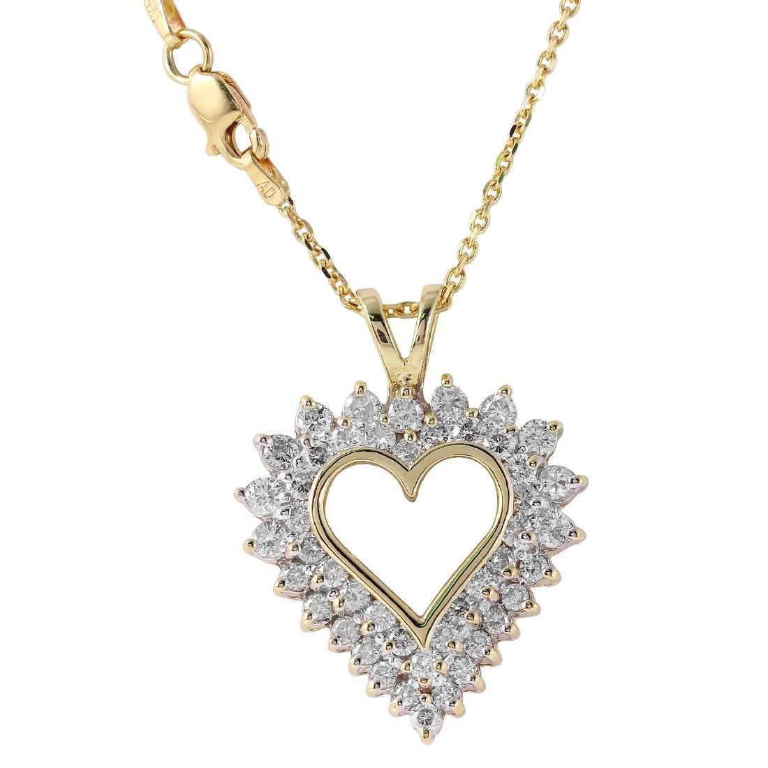 14KT White Gold Diamond Heart Pendant Necklace