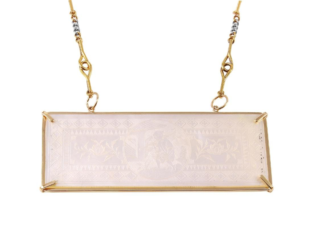 14KT Two Tone Gold Mother-of Pearl Necklace