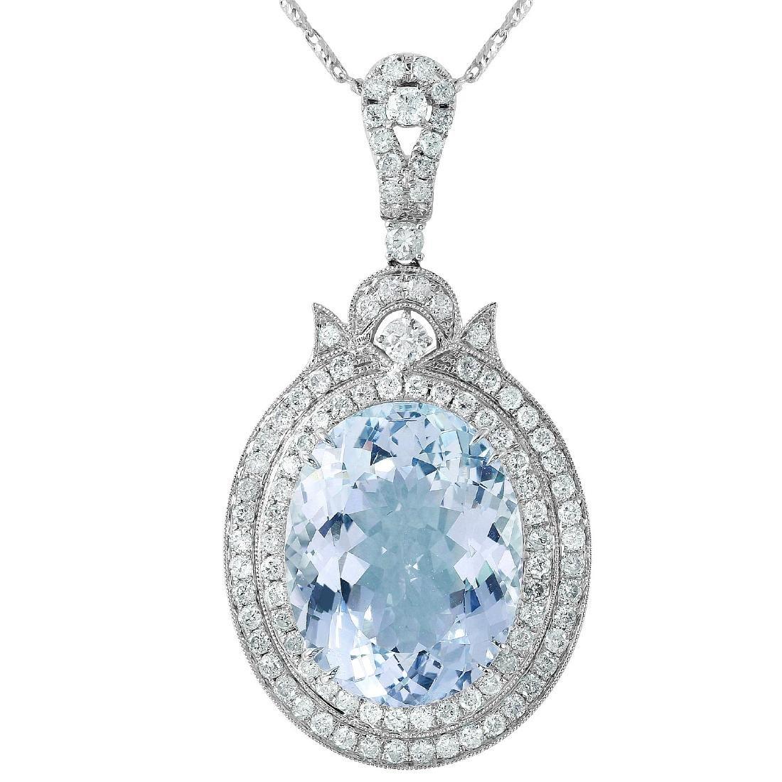 14KT White Gold Aquamarine & Diamond Necklace