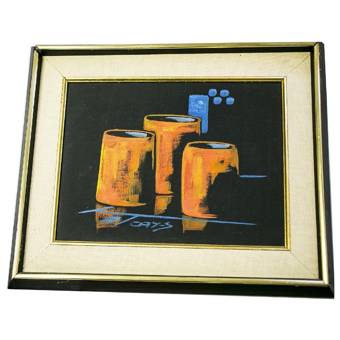 Cay Schoodt Three Cups Oil/ Canvas Circa 1930's
