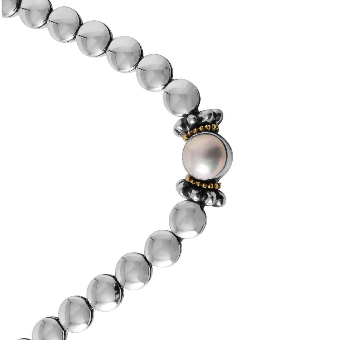 Lagos Caviar  Silver 18KT Gold Pearl Necklace