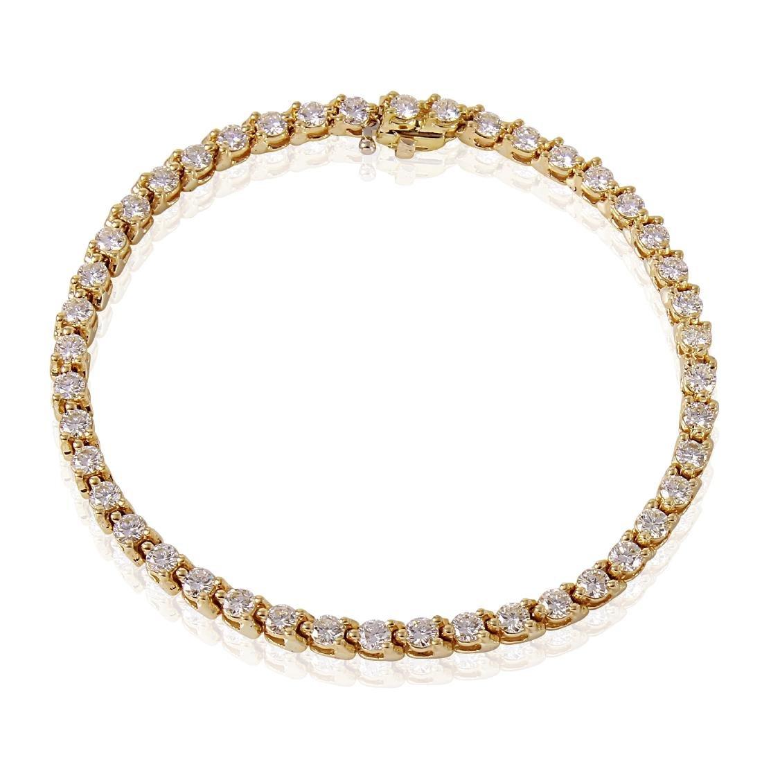 18KT Yellow Gold Diamond Tennis Bracelet