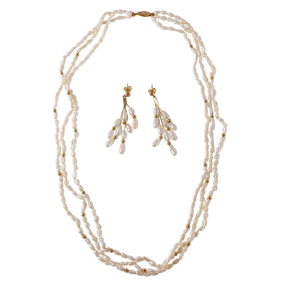 14KT Yellow Gold Matching Pearl Jewelry Set